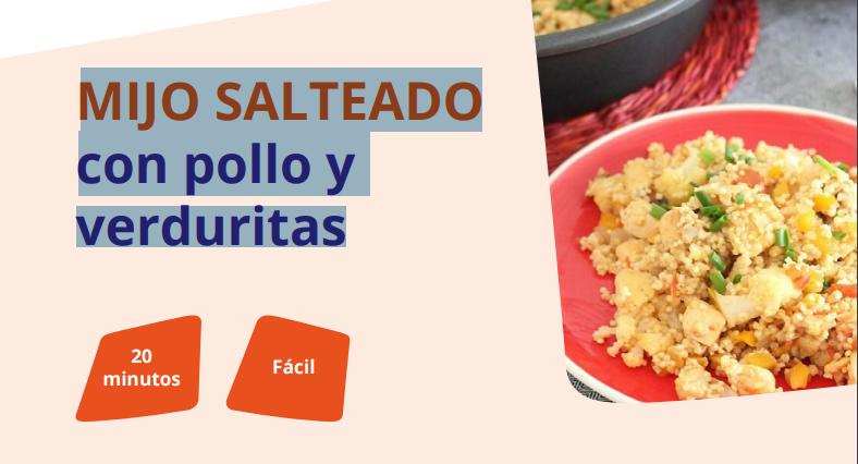 Cocinar en familia: Receta saludable de mijo salteado con pollo y verduritas